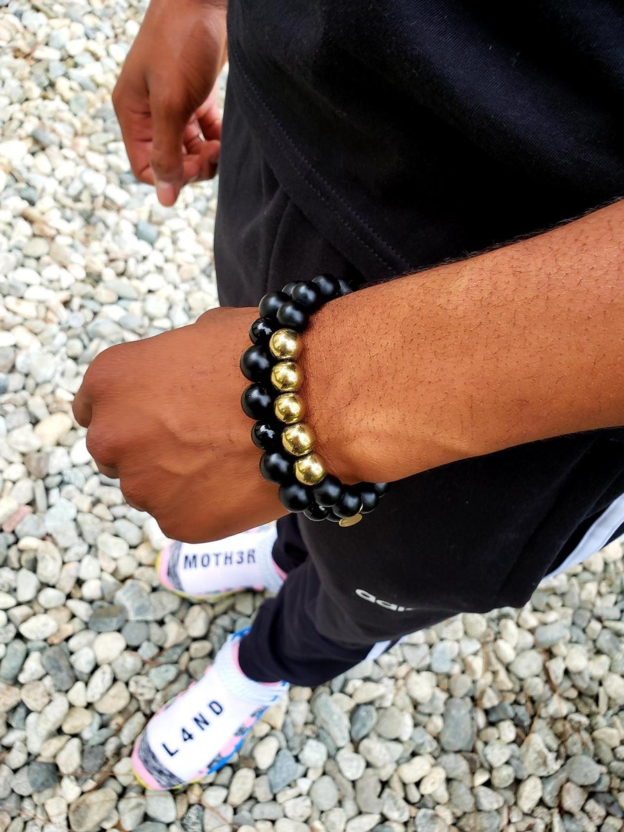 Image of Fame & Fortune Set | Jade | Black Onyx | Gold Hematite | Protection | Good Luck | Emotional Strength