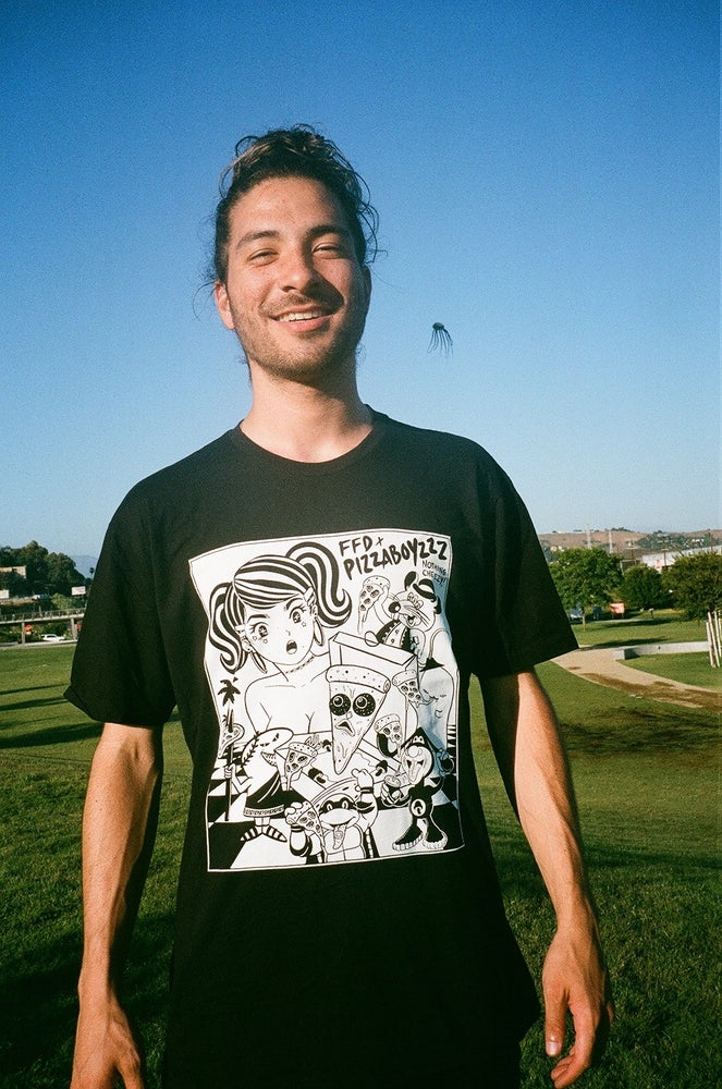 Image of Future fantasy Delight X Pizzaboyzzz  BLACK TEE collab from  #NothingCheezy(ONLY 20 MADE)