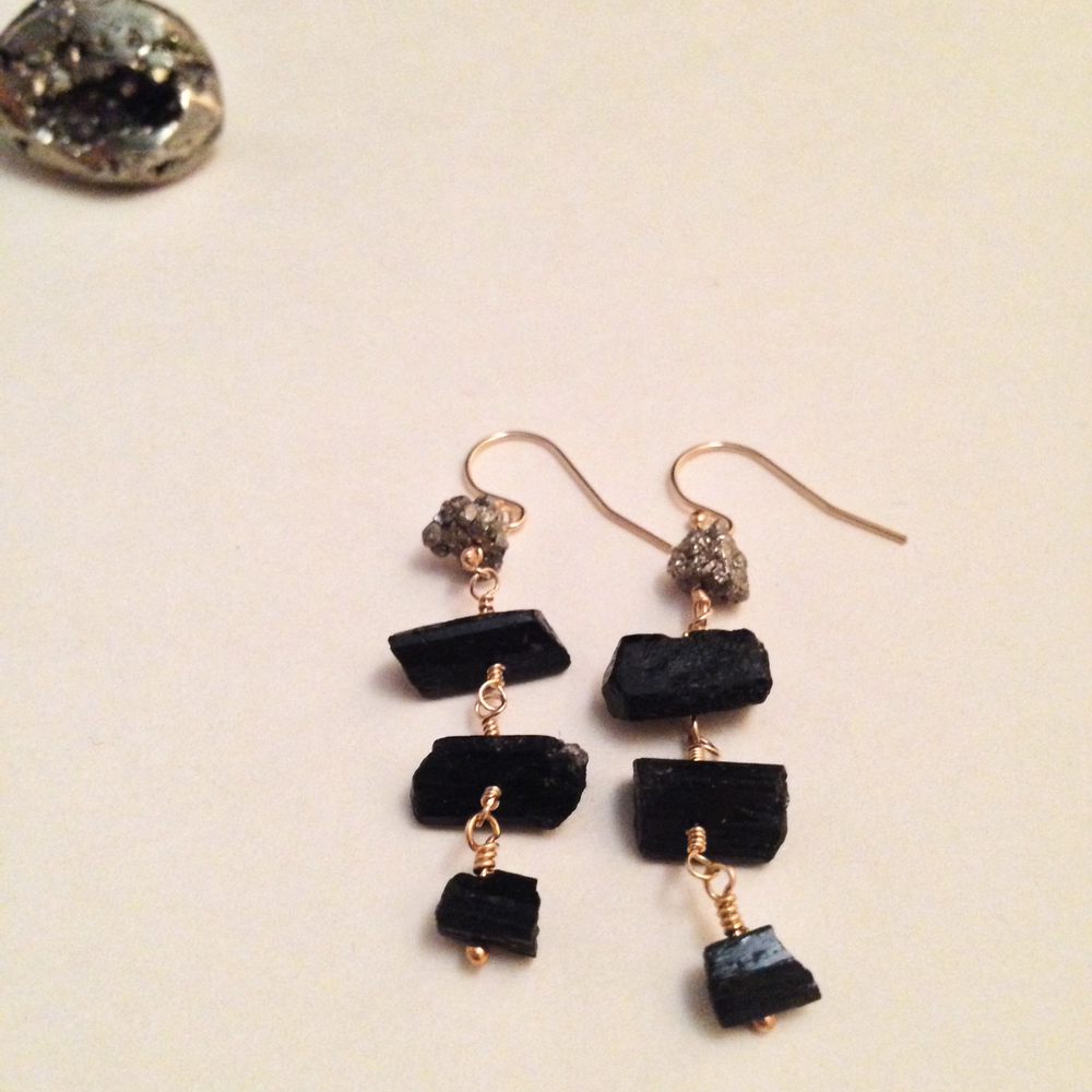 Image of Page of Pentacles Golden Pyrite Black Tourmaline 14kt Gold Filled Earrings | Tarot Witch Protection