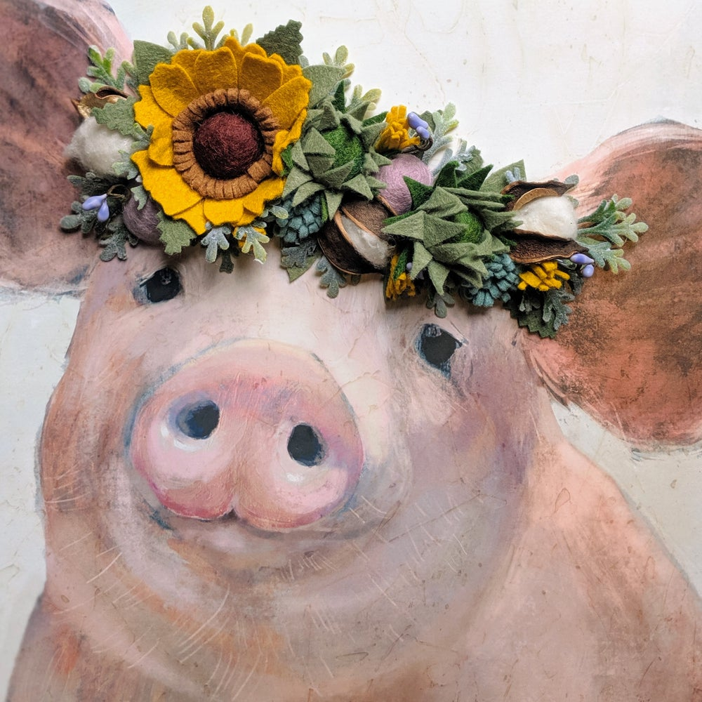 Image of Large Pig with Sunflower and Succulent Flower Crown in Wood Frame