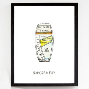 Ramos Gin Fizz - Cocktail Diagram Fine Art Print by Alyson Thomas of Drywell Art. Available at shop.drywellart.com