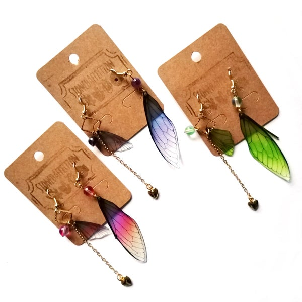 Image of Cicada Wing Asymmetric Drop Earrings