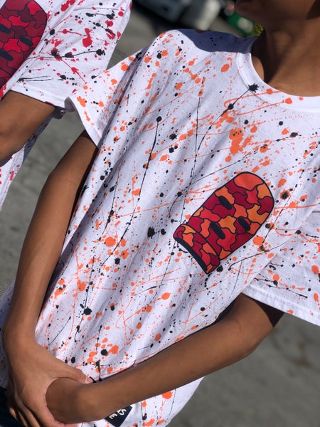Image of Splattered Ski Mask Tee (Orange)