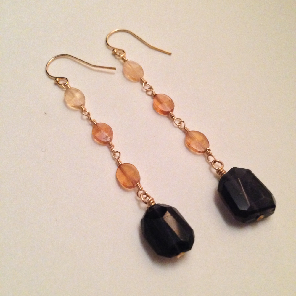 Image of Page of Cups Iolite Hessonite Garnet 14kt Gold Filled Earrings | Tarot Handmade Witch Earrings
