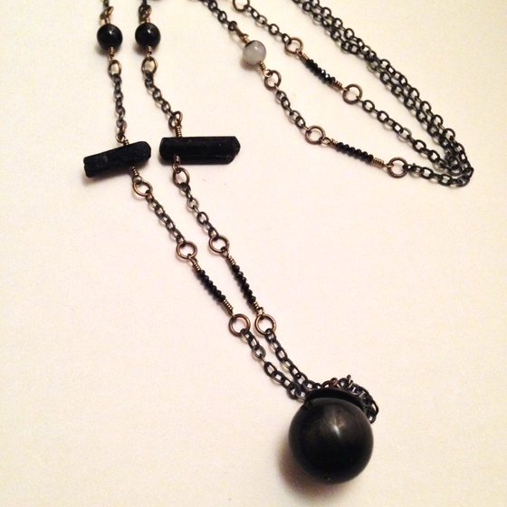 Image of The Magician Golden Obsidian Tourmaline Pyrite Black Spinel Garnet Gemstone Scrying Ball Necklace