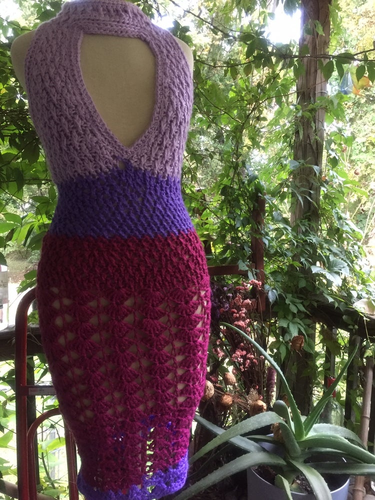 Image of Lavender Berry Extra Deep Vee Crochet Shift
