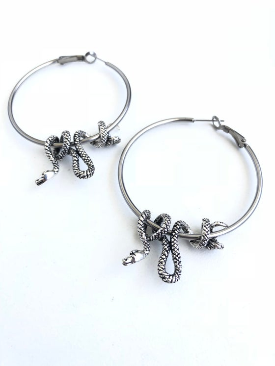 Image of SNAKE HOOP EARRINGS