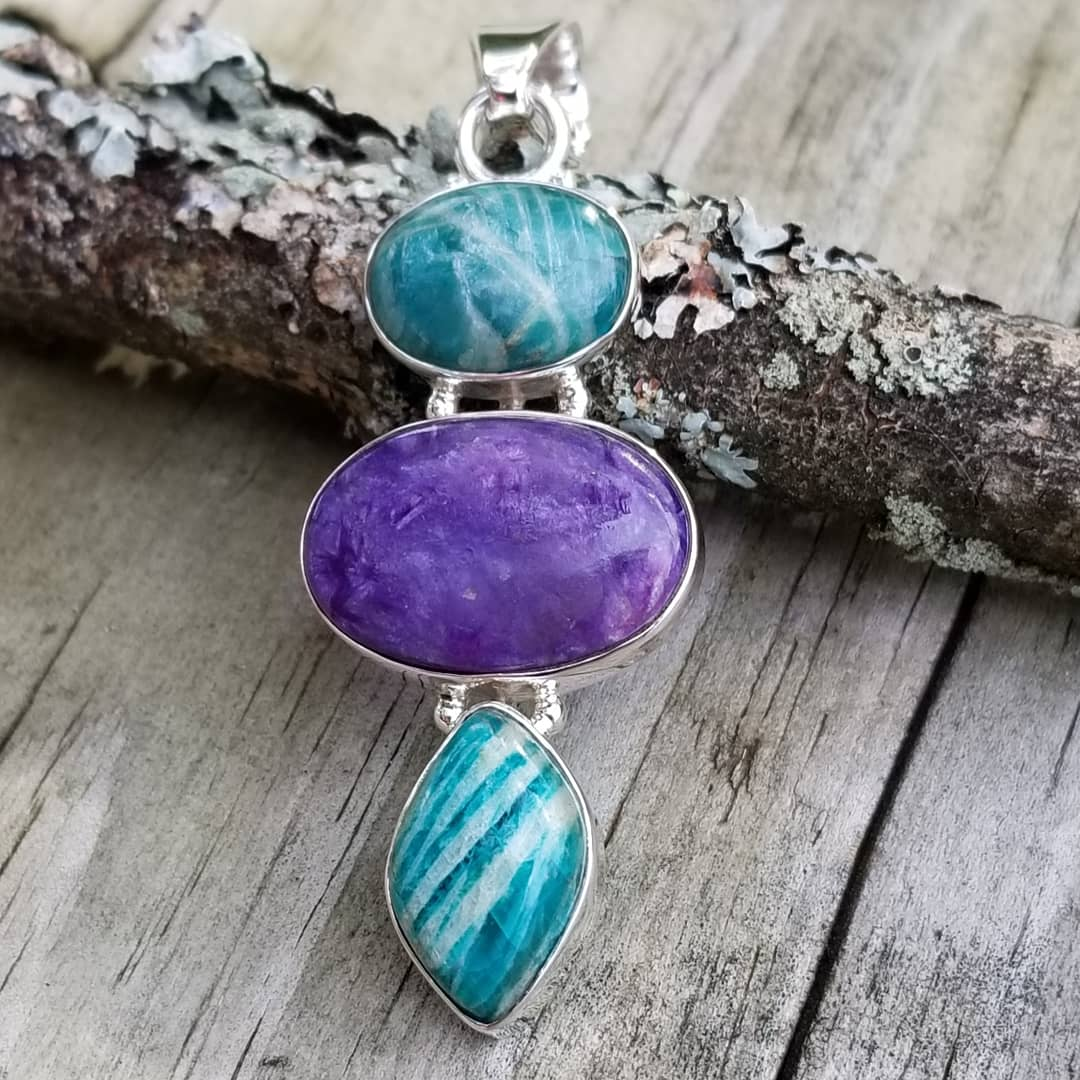Image of Amazonite & Charoite 3 Stone Pendant in Sterling