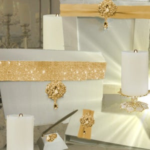 Image of Esprit Gold Crystal and Ivory Guest Book Table Decor