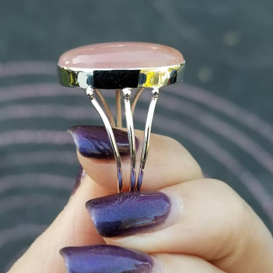 Image of Light Heart Ring - Rose Quartz in Sterling