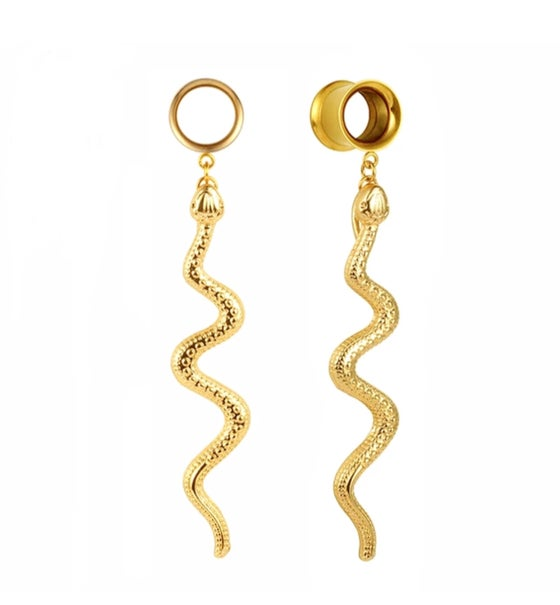 Image of LONG SNAKE STRETCHER EARRINGS