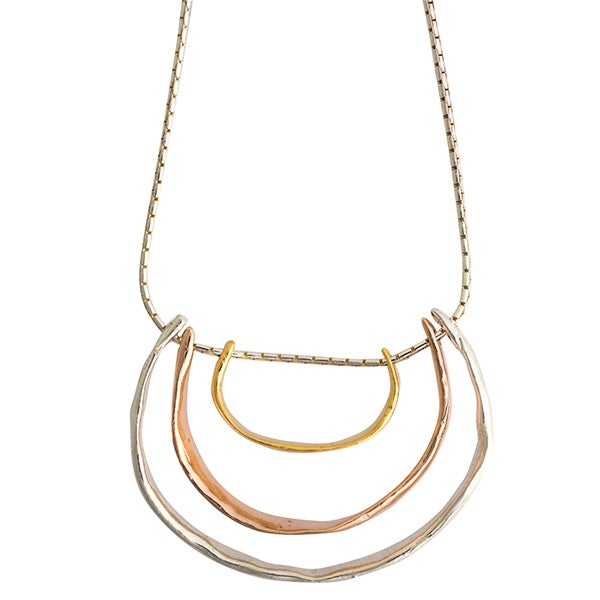 Image of Silver, rose-gold and yellow gold-plated Formentera necklace