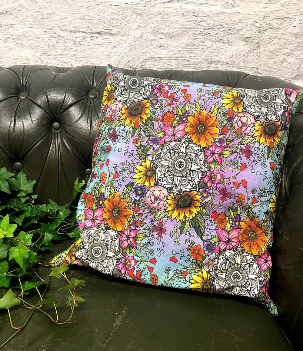 Image of Purple flower mandala cushion