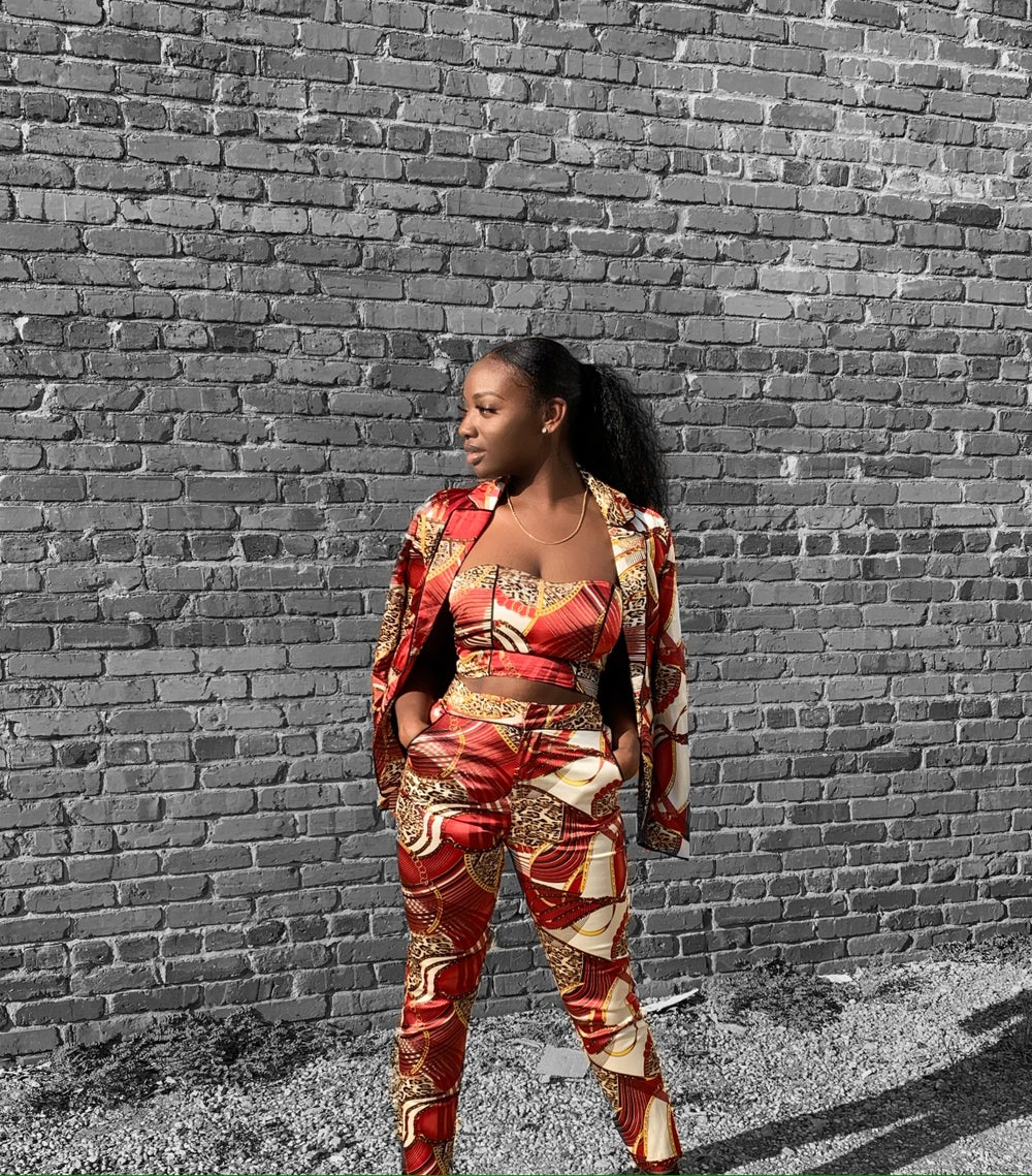 Image of 'Fashionably late' 3 piece printed suit