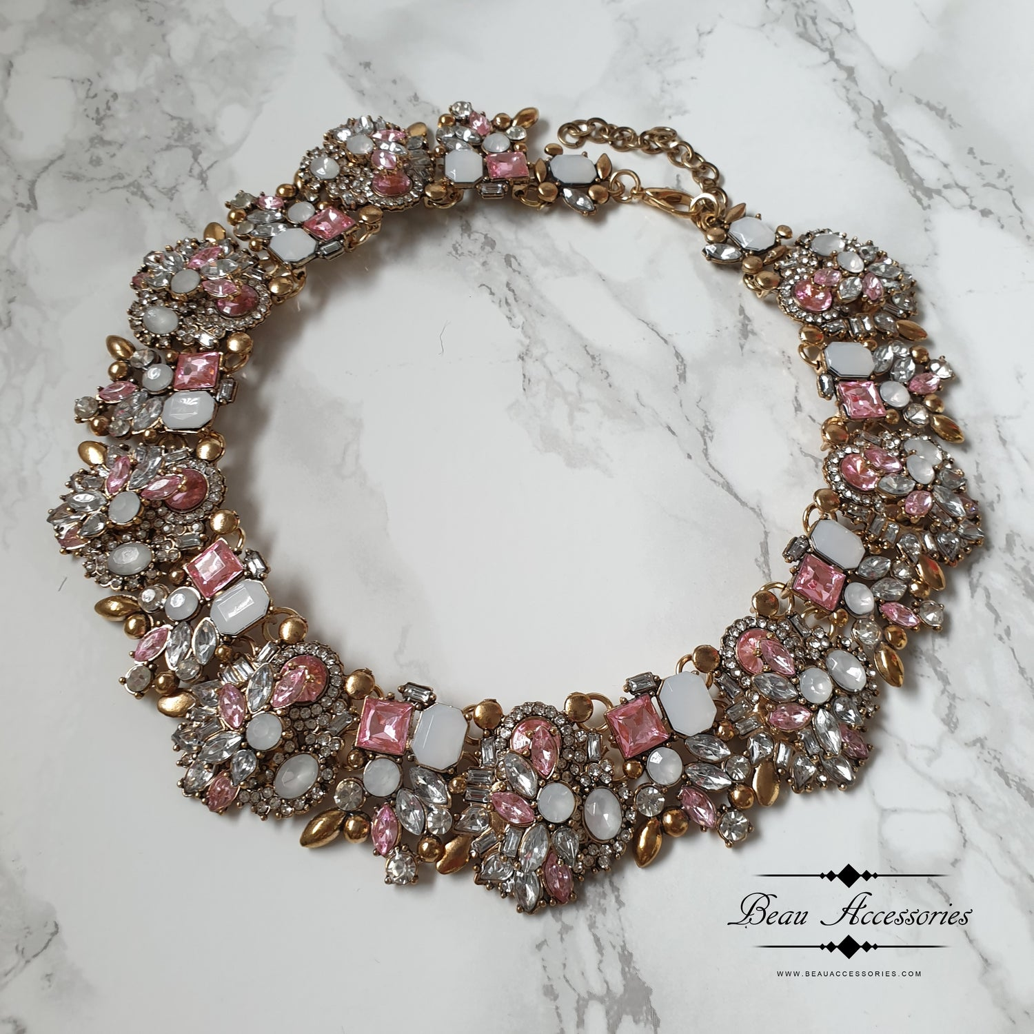 Image of Soft Pink Velencia Statement Necklace