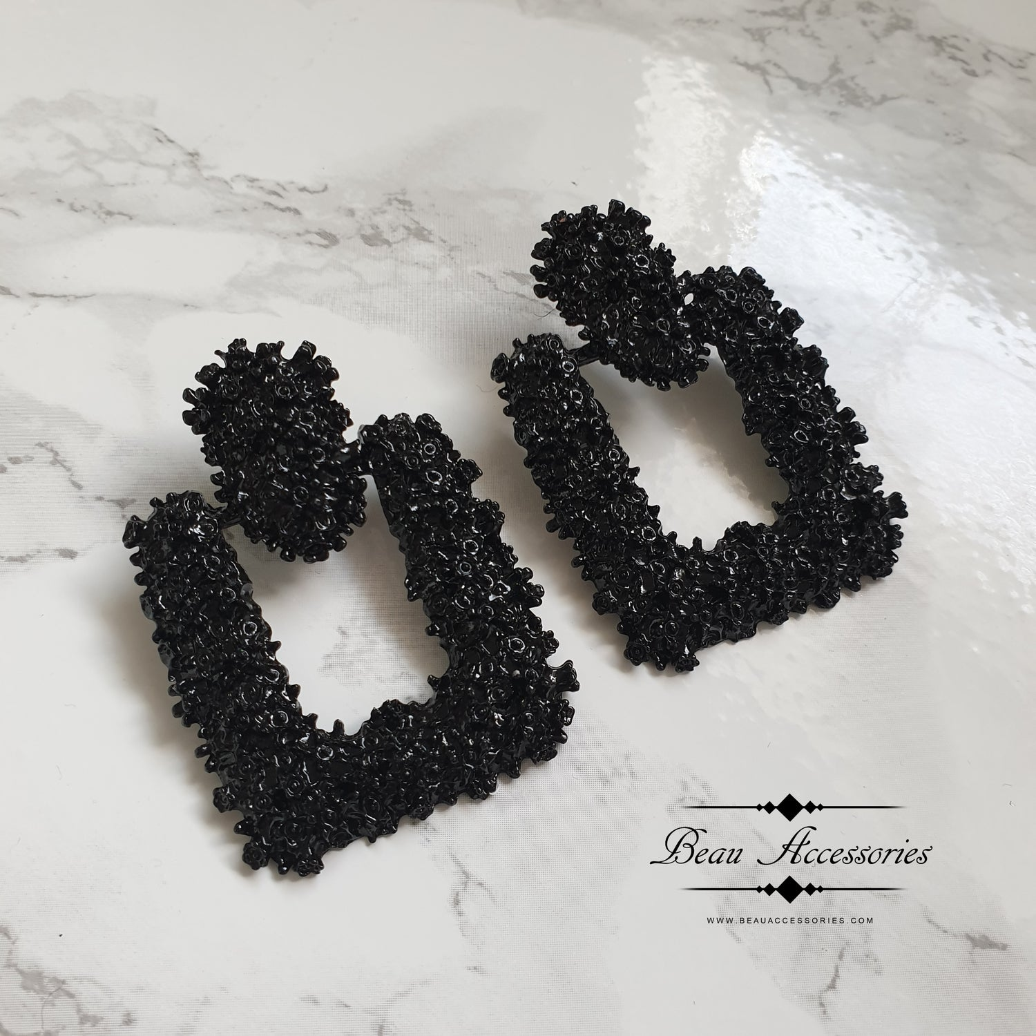 Image of Black Square Textured Statement Earrings