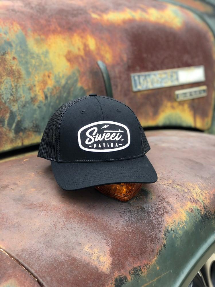 Image of Black on Black Bolt Patch Hat