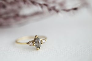 Image of 18ct gold, marquise cut 'Salt and pepper' diamond ring (IOW125)