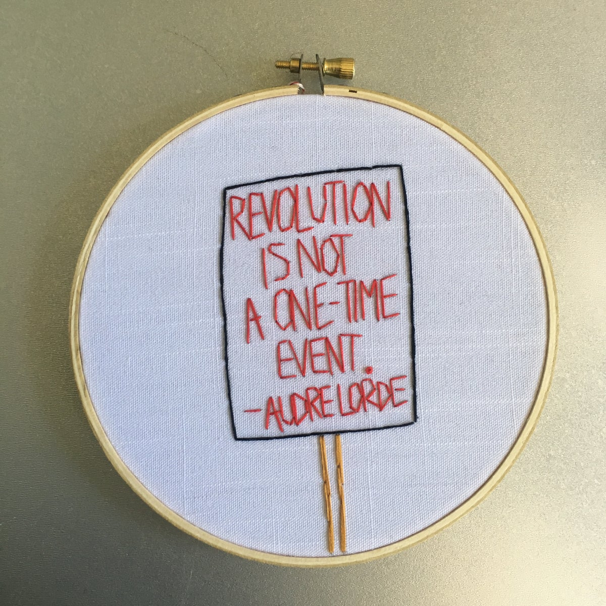 Image of Revolution - Audre Lorde / protest sign inspired embroidered hoop art