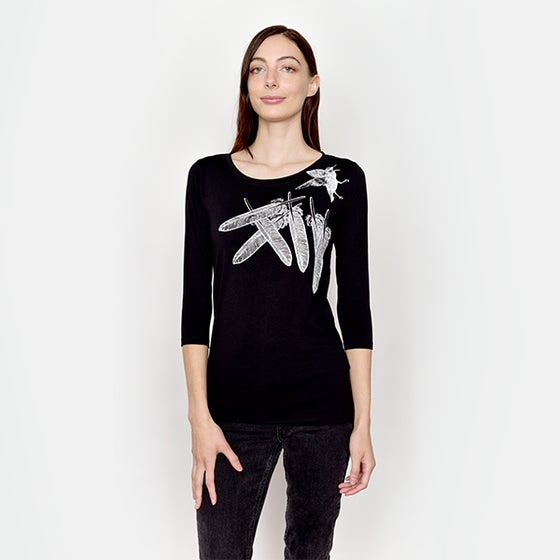 Image of BlackFlyingFeather 3/4 Sleeved T