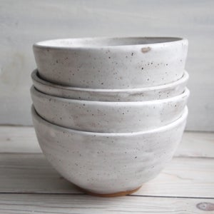 Image of Set of Four White Speckled Matte Glazed Stoneware Bowls, Handcrafted Made in USA