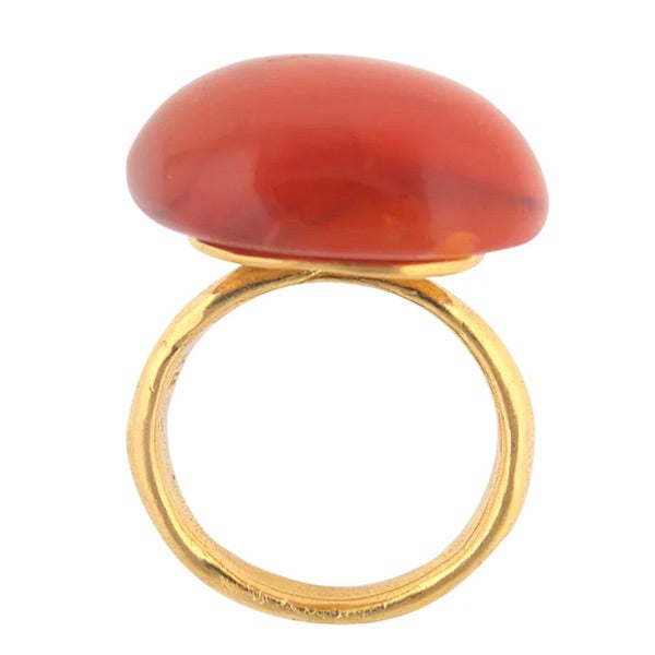 Image of Gold-plated silver onyx or corneilan irregular Luna large pebble ring (A2)