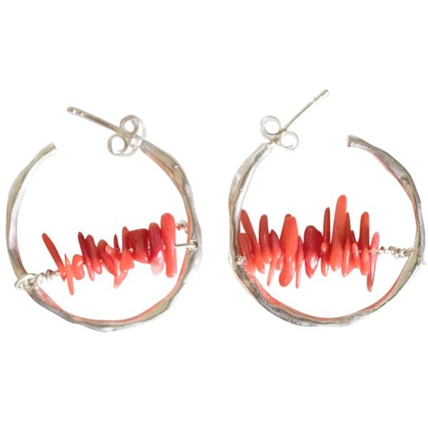 Image of Flattering silver Maggie hoops with coral detail. (P2)