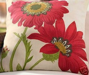 Image of FF Poppy Outdoor Fabric Pillow Panel  Bold Pottery Barn Flower S83