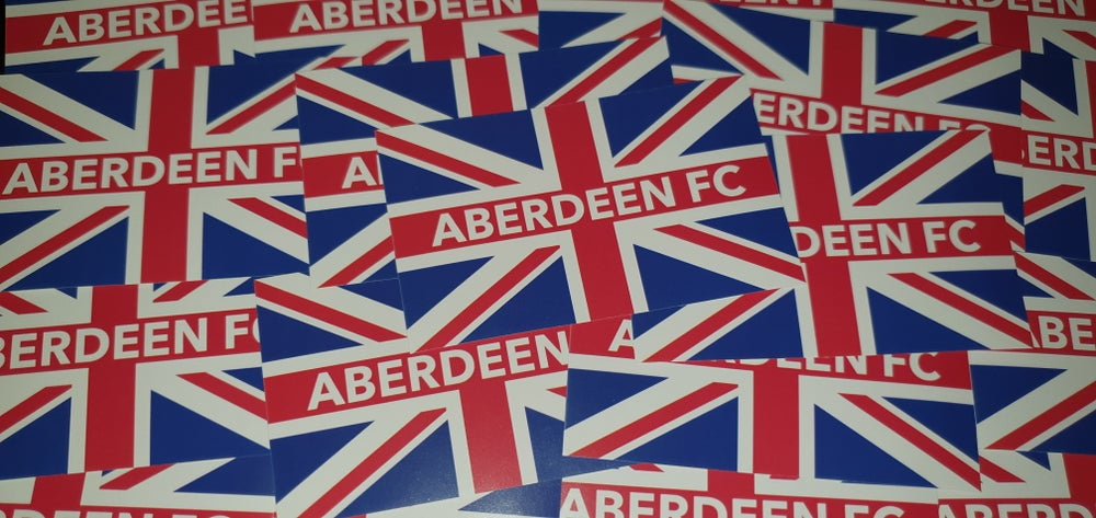 Image of Aberdeen British football ultras stickers. 10x6cm stickers. Pack of 25.