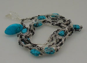 Image of TS339 Stone and chain wrap necklace or bracelet