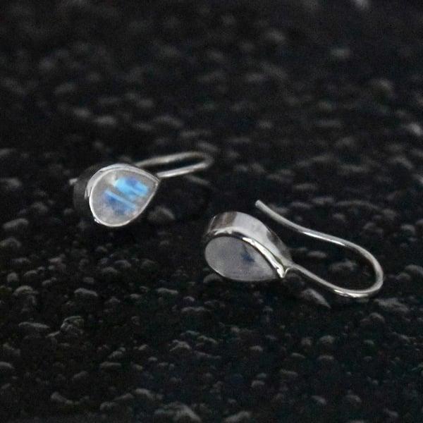 Image of Rainbow Moonstone pear cut silver earrings