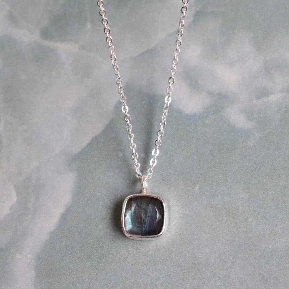 Image of Labradorite Moonstone square cut necklace