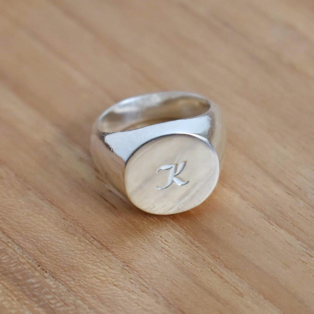 Image of Personalized Silver Signet ring
