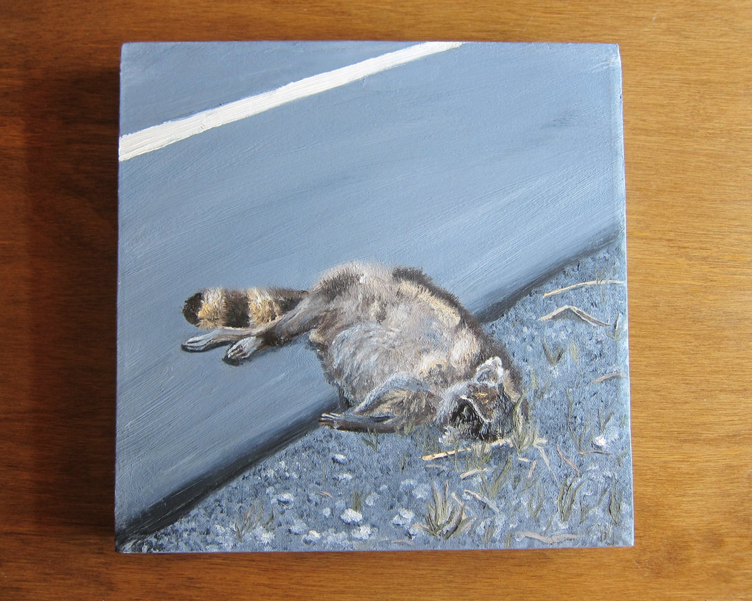"Image of ""Still Life with Raccoon I"" 12""x12"" Oil on Canvas painting"
