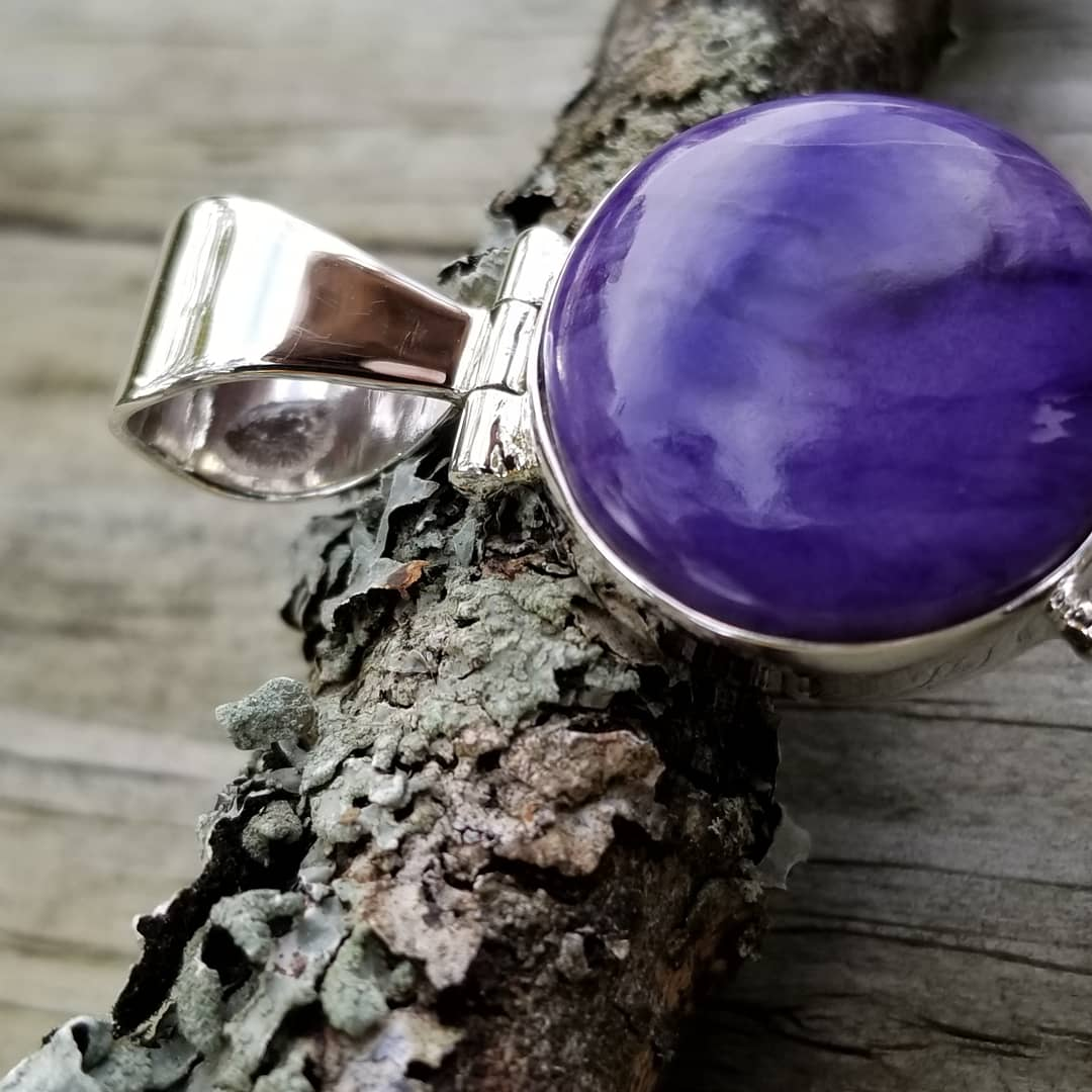 Image of Charoite 3 Stone Pendant in Sterling