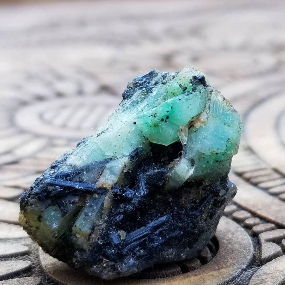 Image of Emerald with Tourmaline in Matrix