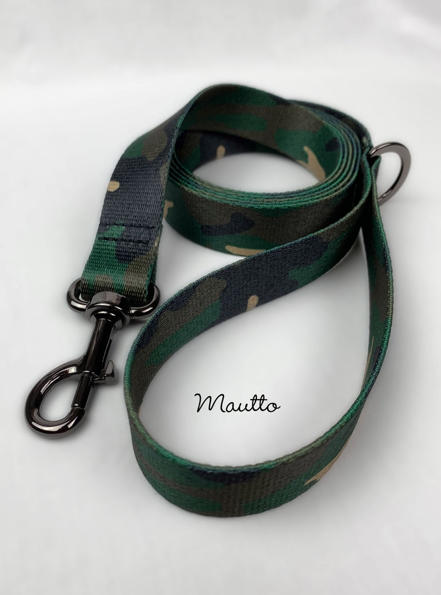 Image of Green Camo Dog Leash for Medium to Large Size Animal/Pet - 4 Lengths (Short to Extra Long)