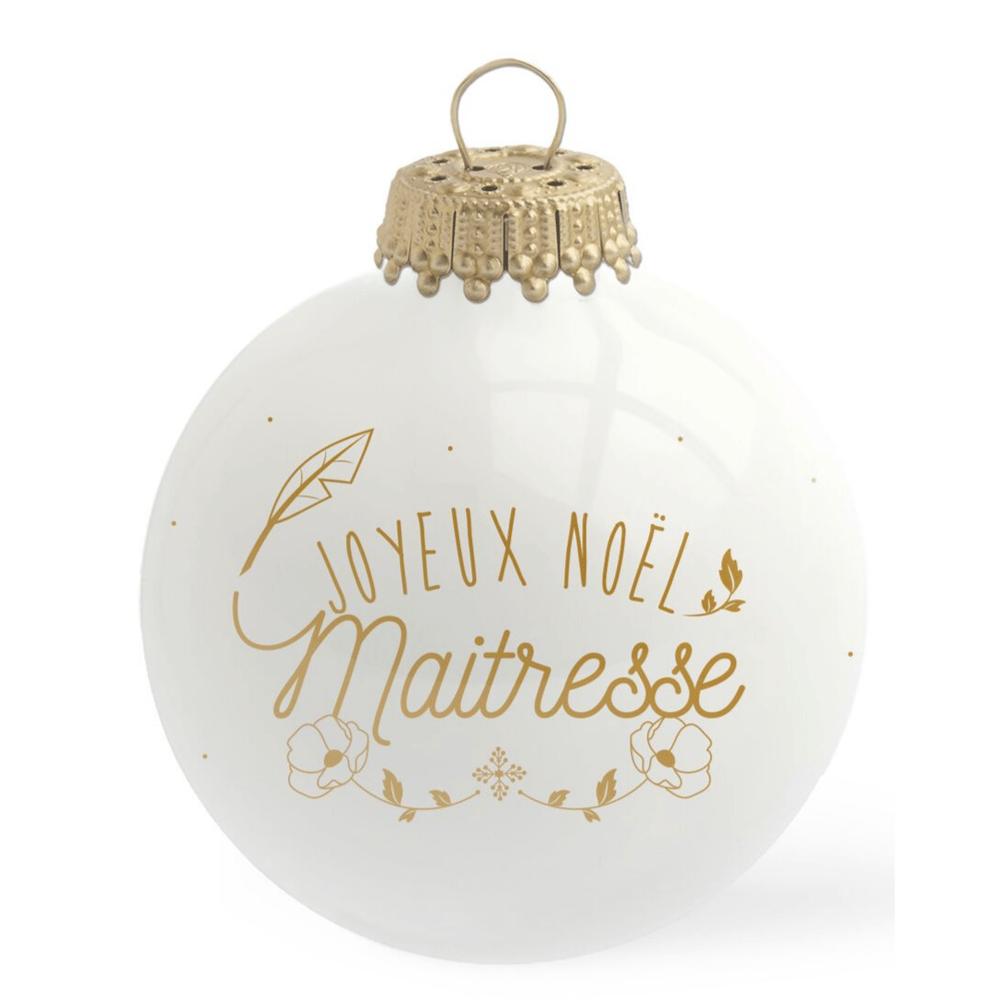 Image of Boule de Noël personnalisée Joyeux Noël Maîtresse