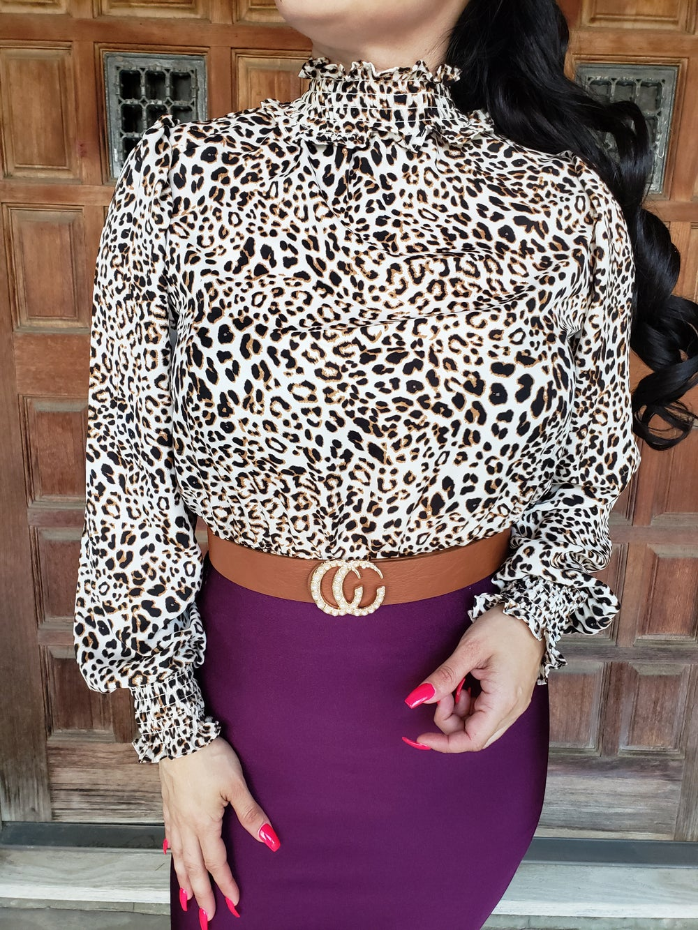 Image of Haylie Leopard Blouse