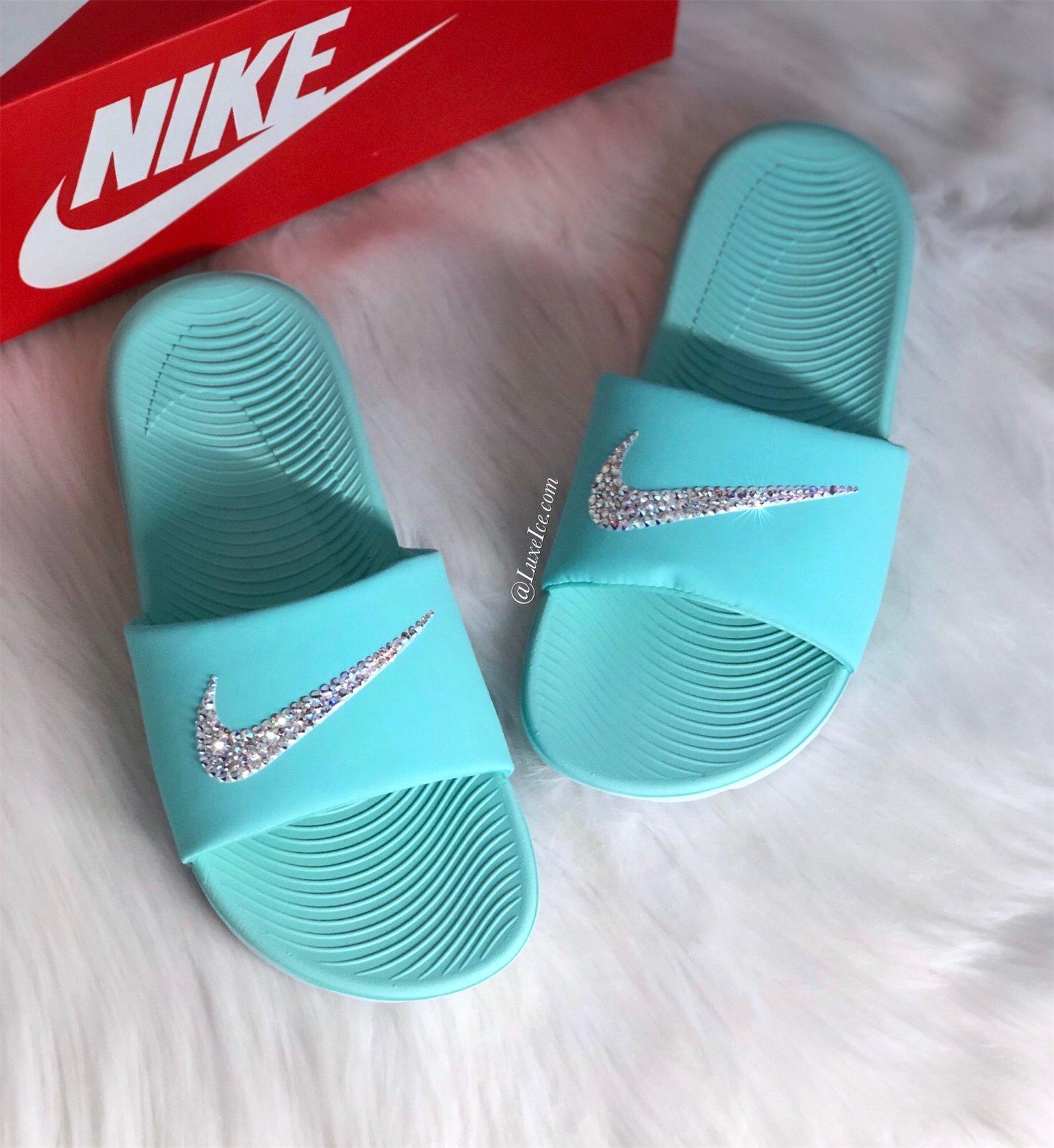 Image of Swarovski Nike KAWA Slides Blue customized with Swarovski Crystals AB.