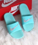 Image of Swarovski Nike KAWA Slides Blue customized with Swarovski Crystals AB.
