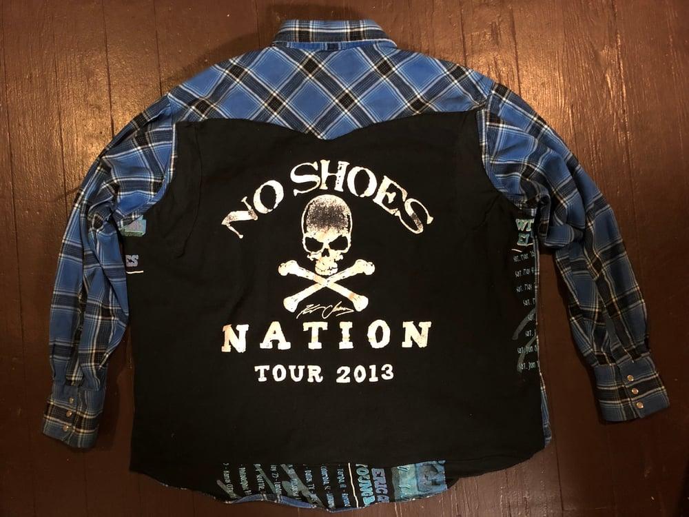 """Kenny Chesney"" repurposed bootleg t-shirt flannel"