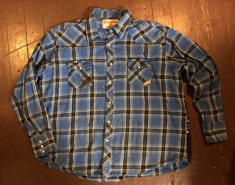 """Kenny Chesney"" repurposed bootleg t-shirt flannel"
