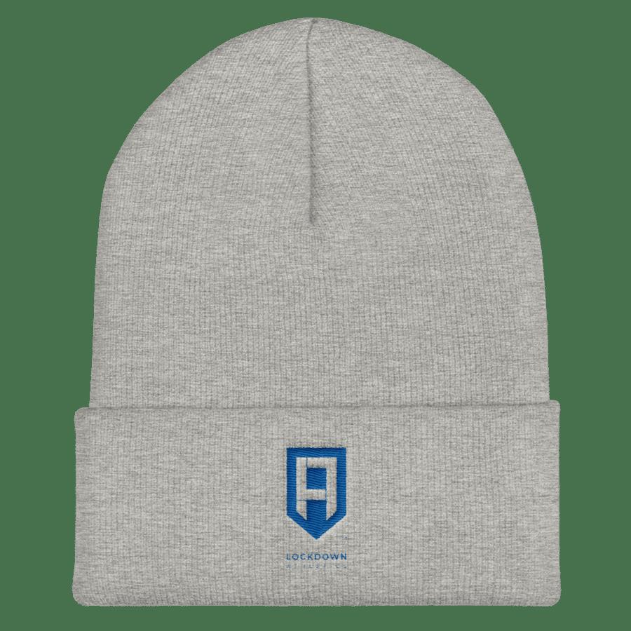 Image of Grey Beanie w/Blue Logo
