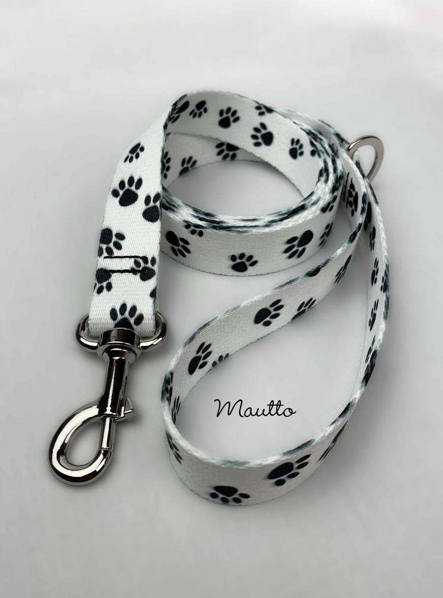 Image of Black & White Paws Dog Leash for Medium to Large Size Animal/Pet - 4 Lengths (Short to Extra Long)