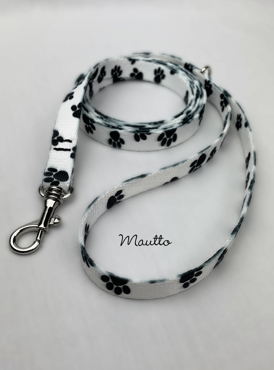 Image of Black & White Paws Dog Leash for Petite to Small Size Animal/Pet - 4 Lengths (Short to Extra Long)
