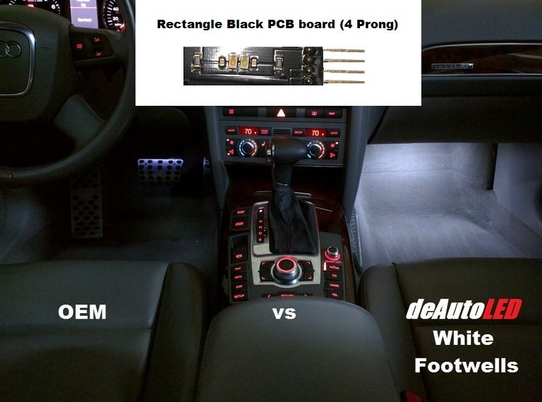 Image of Footwell LED - Rectangle Black PCB (4 Prong model) fits many Audi Models