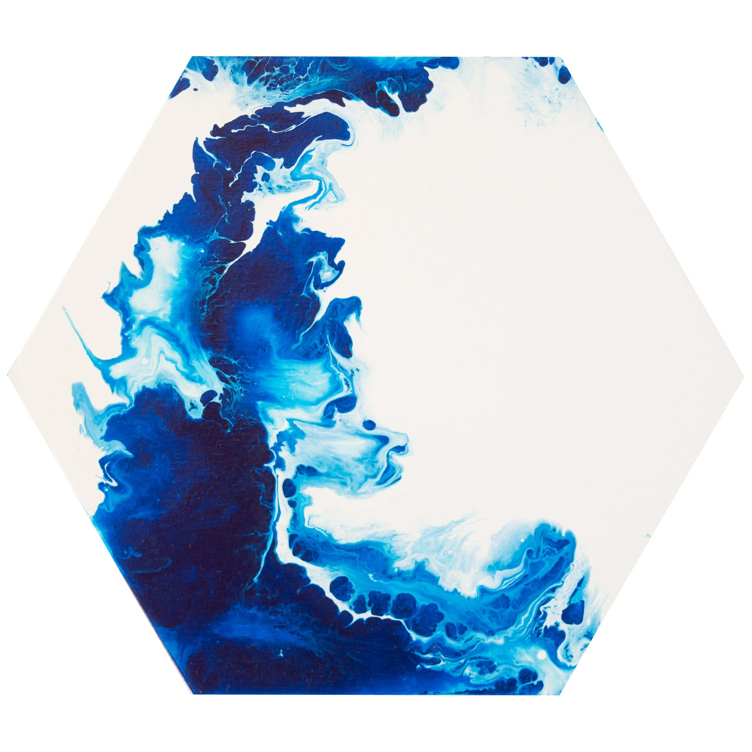 Image of blue abstract hexagon painting