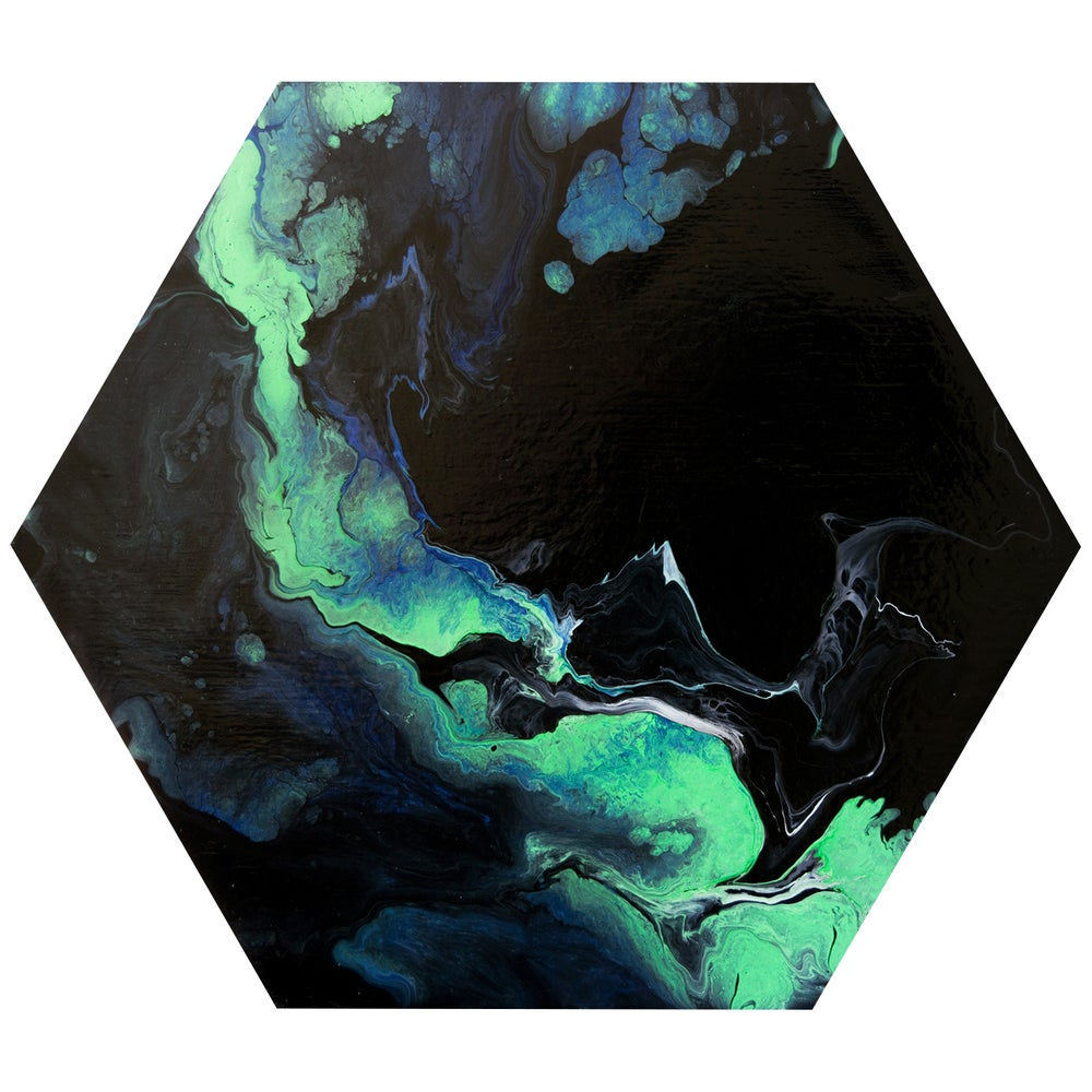 Image of green and black abstract hexagon painting