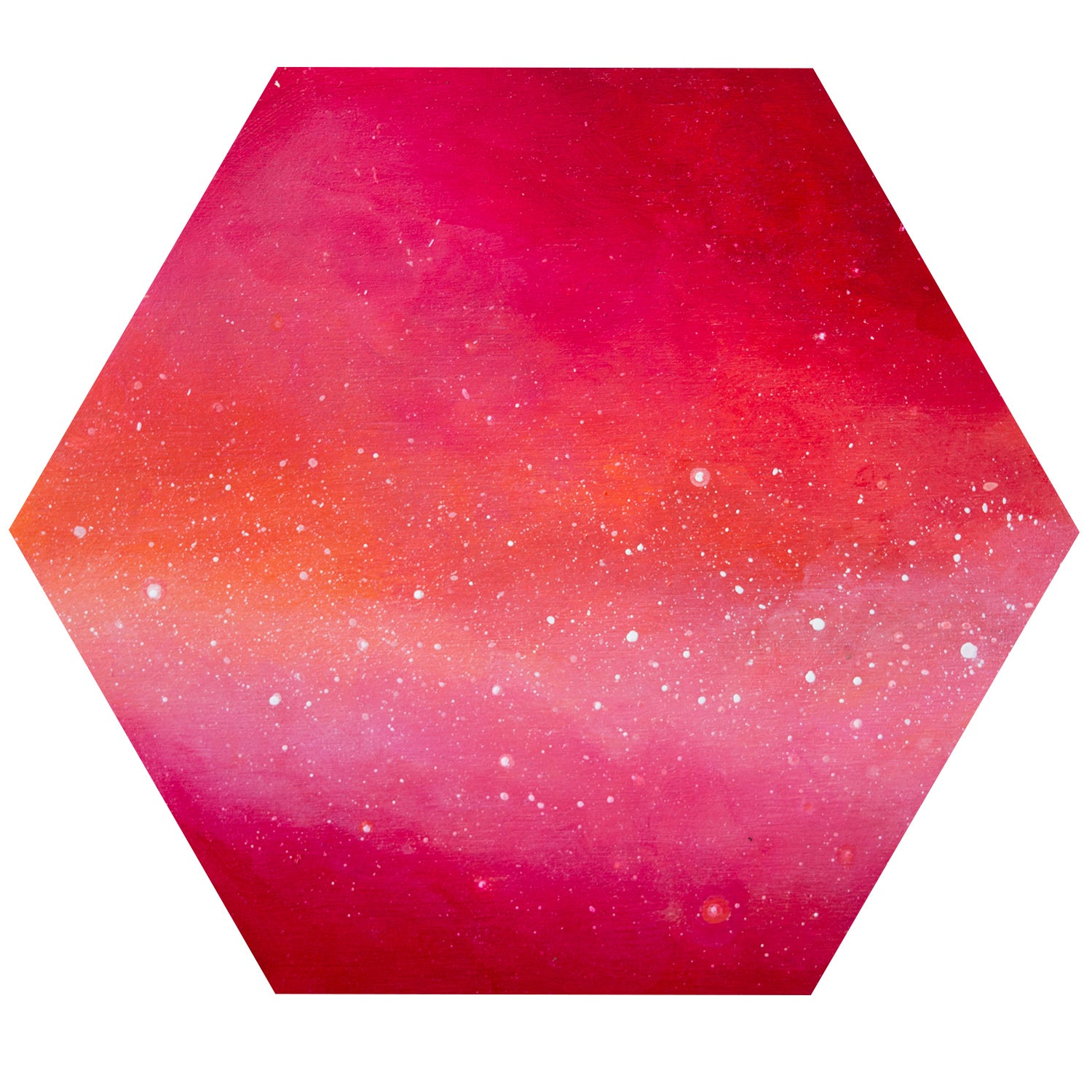Image of red abstract hexagon painting